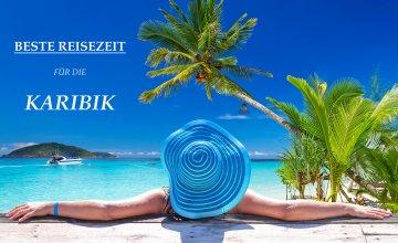 Eine Frau mit einem großen blauen Sonnenhut amüsiert sich an einem karibischen Strand